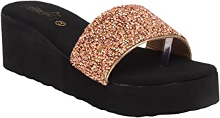 Butterflies Steps Latest Collection, Comfortable Wedges Sandal for Women's & Girl's(Rose Gold)(GHS-0086RGD)
