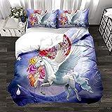 HAJYCFR Mädchen Jungen Bettwäsche 135x200cm Süßes Tier Pegasus Hund Bettbezug 3 Stück Bettwäsche 3D Digitaldruck Bettdecke extra große Bettbezug Schlafzimmer Set Queen Modern Microfaser Bettbezug mit