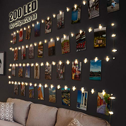 200 LED Photo Clip String Lights, Litogo USB Plug in 20M Photo Peg Fairy Lights 60 Clips Indoor Battery Powered Wire Hanging String Photo Frames Display for Bedroom Wedding Birthday Party Christmas