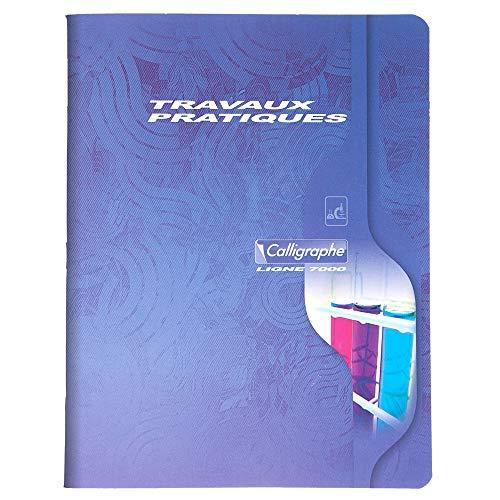Calligraphe 2592C - Un cahier de travaux pratiques (gamme 7000 de Clairefontaine) 96 pages 17x22 cm grands carreaux 70g et pages unies 90g, couverture carte offset, couleur aléatoire