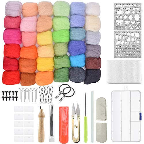 mreechan Juego de lana de fieltro,36 colores lana de fieltro,lana de fieltro con juego de herramientas Kits de inicio de bricolaje para niños y familias Principios de bricolaje de agujas
