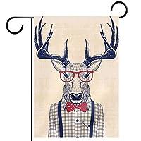 ガーデンヤードフラッグ両面 /28x40in/ ポリエステルウェルカムハウス旗バナー,ヴィンテージ動物鹿漫画