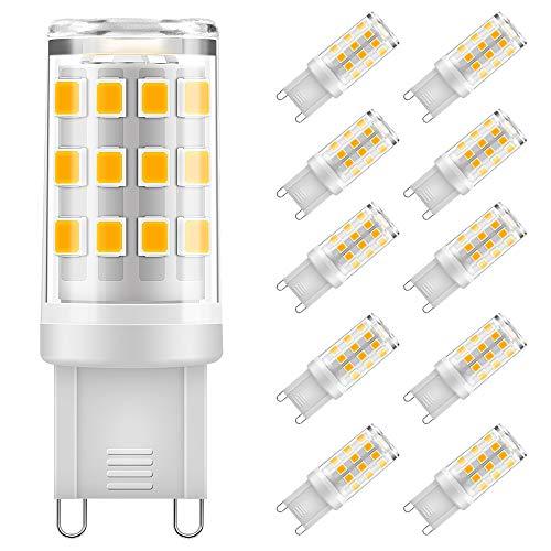 Eterbiz G9 LED Lampen 5W, 500LM Warmweiß 3000K, Kein Flackern G9 LED Leuchtmittel Ersatz 40W G9 Halogenlampe, 360° Abstrahlwinkel, nicht dimmbar, 10er Pack