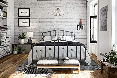 Novogratz Bushwick Metal Bed, Modern Design, Full Size - Grey