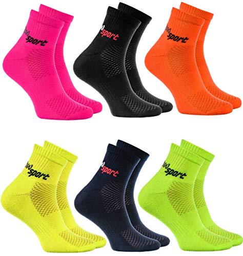 Rainbow Socks - Hombre Mujer Calcetines de Deporte Neon - 6 Pares - Multicolor - Talla UE 44-46