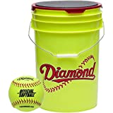 Diamond 6-Gallon Ball Bucket with 18 11YOS 11-inch Softballs, Yellow