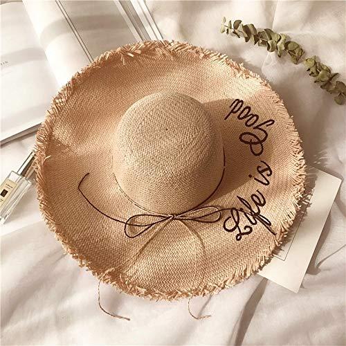 Gdcfgvdxx 3 PCS señoras del Verano del Sombrero de Sun Letras Bordadas de ala Ancha de Paja Tejida Beach Gorra, Tamaño: Ajustable (56-58cm) (Camel) (Color : Rosado)