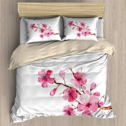 SUPERQIAO Juego de Funda nórdica Sakura, Flores japonesas de Sakura, Tema de...