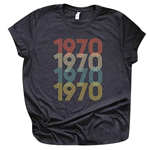 Camiseta de manga corta para mujer, para cumpleaños, verano, diseño divertido para regalar a las mujeres, elegante blusa, manga corta, cuello redondo, básica, túnica, 1978, Gris Oscuro N, XXXXL