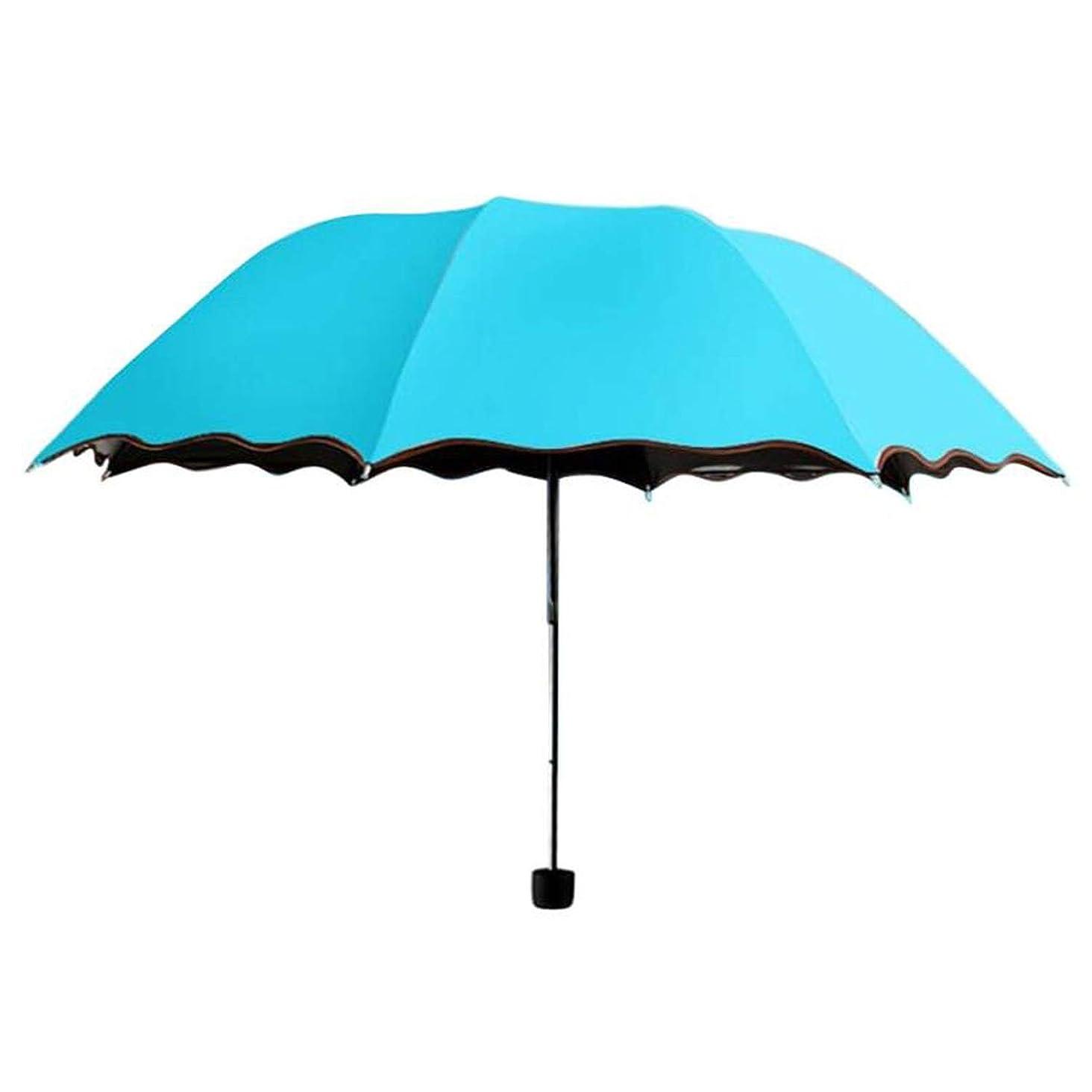 Wind Resistant Folding Travel Parasol Folding Rain Windproof Umbrella Folding Anti-UV Sun/Rain Umbrella,Blue
