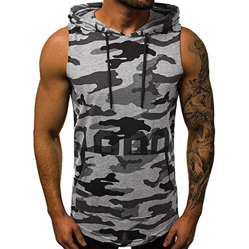 Camiseta de Tirantes Estilo Militar de Camuflaje para Hombre Sin Mangas de Tirante Sudadera con Capucha Gimnasio Músculo Formación Túnica Tank Top
