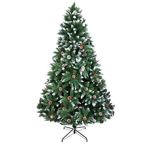 V-Parasoll Snow Flocked Artificial Christmas Tree,7 Foot Unlit Christmas Pine Tree with 1350 Tips,Pine Cone Decoration,Realistic Halloween Tree for Outdoor Indoor