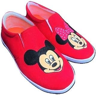 FUNKY N TRENDY Mickey Minnie Red Handpainted Waterproof Canvas Casual Shoes