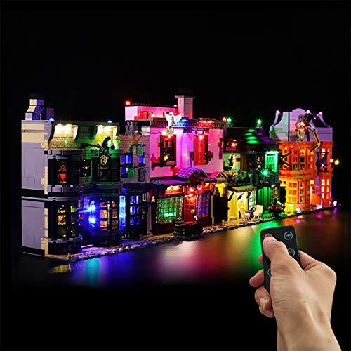 Dittzz LED Licht-Set mit Fernbedienung für Lego Harry Potter Winkelgasse Diagon Alley, Beleuchtungsset mit Musikeffekt Kompatibel mit Lego 75978 (Lego-Modelle Nicht enthalten)