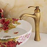 ZYL-IL Cuenca del fregadero grifo de latón for lavamanos agua caliente y fría tocador de baño grifo del fregadero