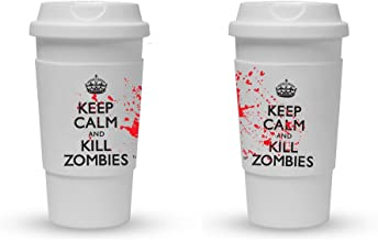 Funny Guy Mugs Keep Calm And Kill Zombies Travel Tumbler With Removable Insulated Silicone Sleeve, White, 16-Ounce