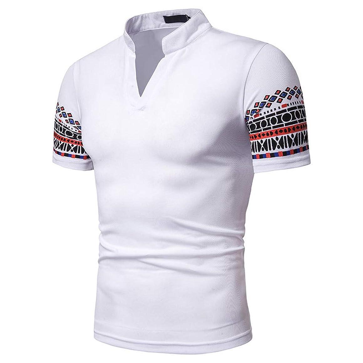 Romantiko Mens Casual V-Neck Henley Short Sleeve Cotton Pique Polo Slim Fit Print T-Shirts