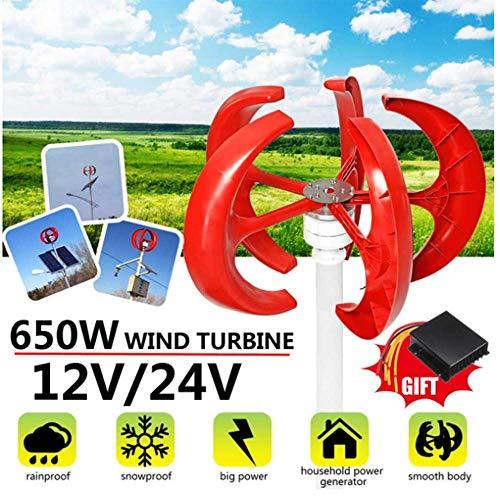 SISHUINIANHUA 650W AC Wind Turbines Generator Laterne 5 Blades 12V 24V Motor Kit Vertikale Achse Elektromagnetische Für Privatanwender Hybrid Straßenbeleuchtung Verwenden,12v