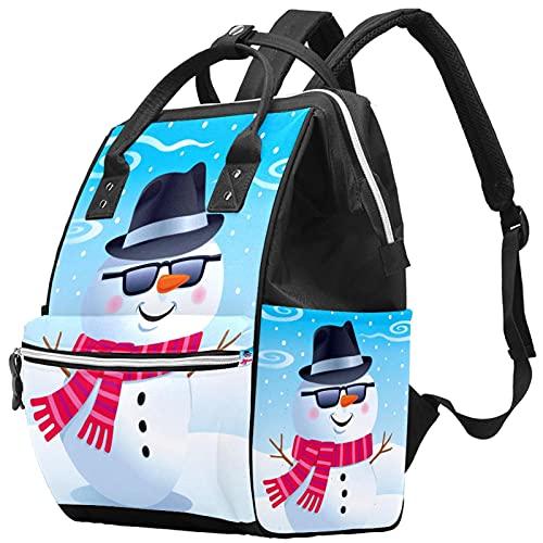 WJJSXKA Mochilas Bolsa de pañales Mochila para portátil Mochila de viaje Senderismo Mochila para mujeres Hombres - Muñeco de nieve Gafas de sol Fedora