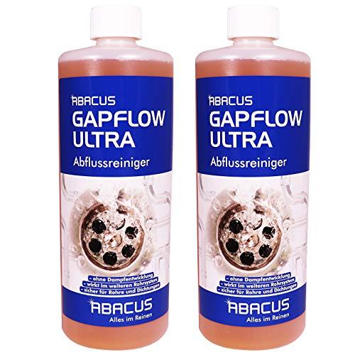 ABACUS GAPFLOW ULTRA 2x 1000 ml - Abflussreiniger Rohrfrei Abfluss Verstopfung Reiniger Rohre Abwasser Abwasserrohre Abflussrohre Rohrverstopfungsmittel Haarlöser flüssig