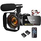 ビデオカメラ 4K 3000万画素 YouTubeカメラ外付けマイク+フード LEDフィルライト 18倍デジタルズーム 予備バッテリー 3インチタッチモニター 日本語システム+説明書 デジタルビデオカメラ