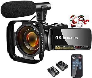ビデオカメラ 4K YouTubeカメラ3000万画素18倍デジタルズーム 外付けマイク+フード LEDフィルライト3インチタッチモニター 日本語システム+説明書 デジタルビデオカメラ予備バッテリー