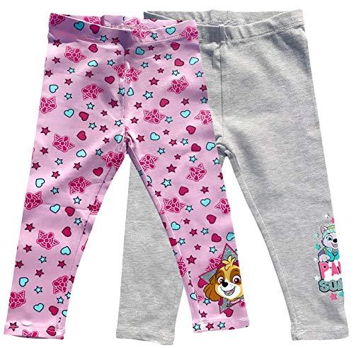 Coole-Fun-T-Shirts PAW PATROL Leggings gris y rosa para nia, pantalones con purpurina Skye + leggins Everest 3 4 5 6 7 8 9 10 aos Talla 98 104 110 116 128 Juego de 2 unidades. 6 aos