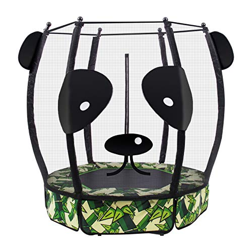 Mikat 5 FT Panda Kids Trampoline,60 Inch Mini Toddler Trampoline with Safety Enclosure Net Jumping Mat and Spring Cover Padding Mini Cute Indoor/Outdoor Trampoline for Boy and Girl