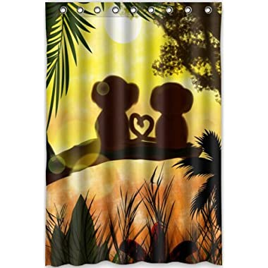 Sunset Jungle Forest Love cute Monkey Shower Curtain New Waterproof Polyester Fabric Bath Curtain
