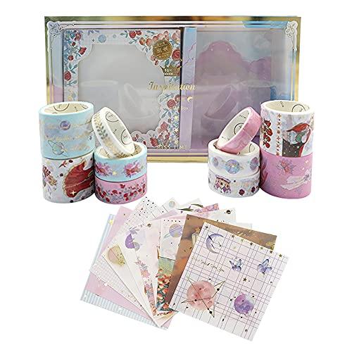 Washi Tape Kawaii - Cinta adhesiva decorativa, 10 rollos de cintas Wasabi con 10 pegatinas, papel dorado para diario de balas, álbumes de recortes, diario, manualidades, 10 mm, 15 mm, 30 mm (E)