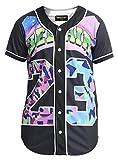 PIZOFF Short Sleeve Arc Bottom 3D Colorful Number 23' Print Baseball Jersey Shirt Y1724-19-L