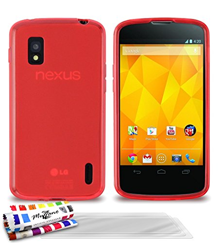Muzzano Le Glossy - Funda para LG Nexus 4, incluye 3 protectores de pantalla, color rojo