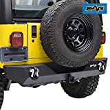 E-Autogrilles JTJRB004 EAG Rear Bumper With 2' Hitch Receiver & 2 D-ring Black Textured Off Road for 87-06 Jeep Wrangler TJ YJ