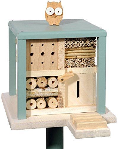 Luxus-Insektenhotels 22639e Bienenhotel-Kubus: Gasthof zur Freundlichen Eule mit Ständer, Insektenhotelbar, Rezeptbuch mit Insekten-Foto/Video-App-Funktion