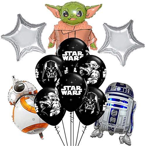 JPYH Decoración de cumpleaños de Star WarsDecoraciones para Fiesta De CumpleañOs con Tema Baby Yoda Globos De Star Wars Suministros para Fiestas Temáticas de Juego para Niños
