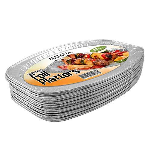 20 Servierplatten Aluminium, 35x23cm - Stabil und Robust - Aluplatten für Geburtstage, Hochzeiten, Partys, Buffets & Catering - Einweg, Wiederverwendbar & Recycelbar.