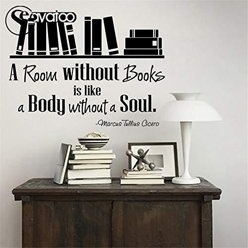 Raum ohne Bücher Bücherregal Vinyl Wand Aufkleber Aufkleber Kid Study Room Zitat Worte Aufkleber