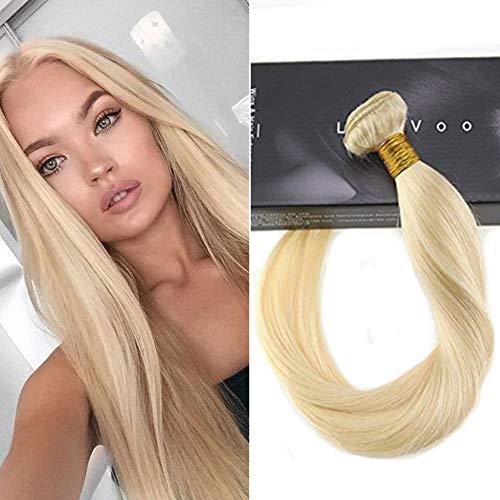 LaaVoo Farbe Gebleichtes Blond Echthaar Extensions Weaving Tressen Remi Brasilian Sew in Weave Silky Straight Menschenhaarverlängerung 100Gramm #613 24 Zoll/60cm