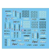 ZRBH 1枚の手紙デザイン抽象的なイメージ水転写ラップガールネイルスライダの爪アートの装飾マニキュア (Color : 1237)