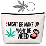 Cosmetic Bag Leaf Makeup Cosmetic Bag Funny Cosmetic Pouch with Leaf Key Chain for Women Friends (Cute Style)