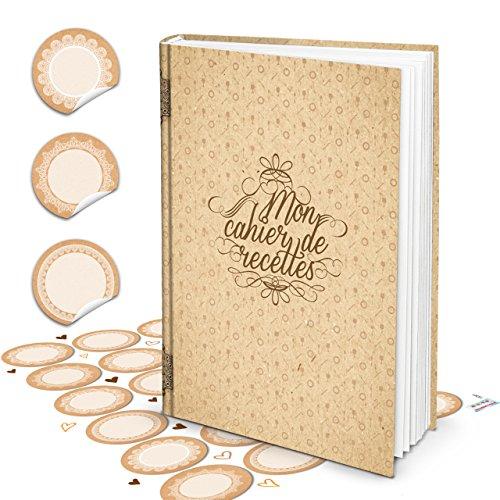 XXL HARDCOVER Frans kookboek om zelf te schrijven MON CAHIER DE RECETTES + blanco keuken sticker 164 lege witte blanco pagina's receptenboek - geschenk om zelf te schrijven + register