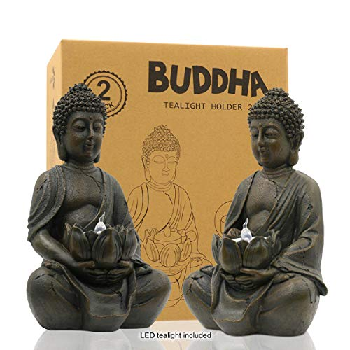 Meditating Buddha Statue Figurine Sitting Sculpture Decoration 8' Tealight Holder/Candle Holder for Home, Garden, Patio with a LED Tea Light, Polyresin, Antique Bronze Look(2 Pack)