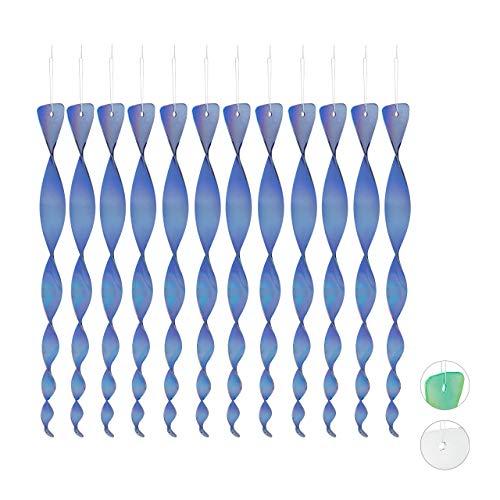 Relaxdays Vogelabwehr Spirale, 12er Set, reflektierend, Balkon & Garten, Windspirale, blau, 40 cm