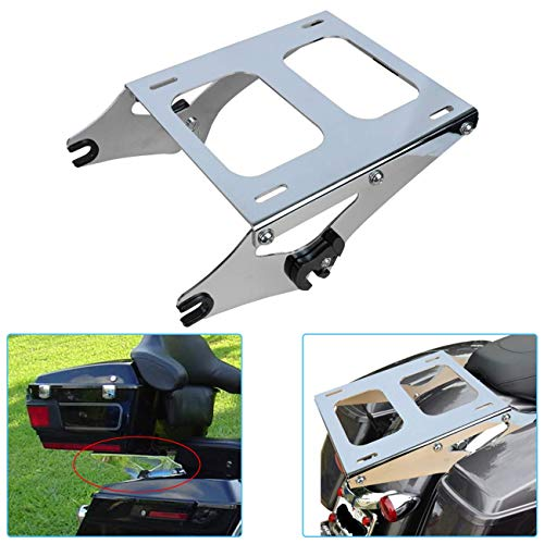 AUFER Detachable Chrome Two Up Mounting Luggage Rack Fits For Touring Road King Street Glide Road Glide Tour Pak Pack 2014-2019