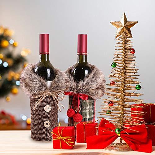 MMTX Weihnachten Weinflasche Abdeckung, 2 Stücke Rotwein Flaschenabdeckung Taschen Schöne Weihnachten Rotwein Tasche Tisch Abendessen Dekoration Home Party Hause Weihnachten Dekore