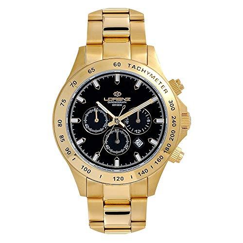 Orologio Uomo LORENZ 27072FF Chrono Acciaio Gold Dorato Nero Sub 100mt