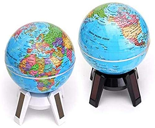 UseMost 11cm Mapa del mundo giratorio con energía solar Atlas de geografía con soporte de luz