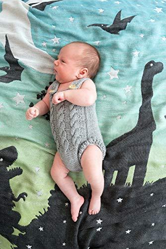 KOKADI kuschelige und weiche BabyDecke - Noah im Dinoland - aus 100% Bio-Rohstoffen ✓ ideal für Neugeborene
