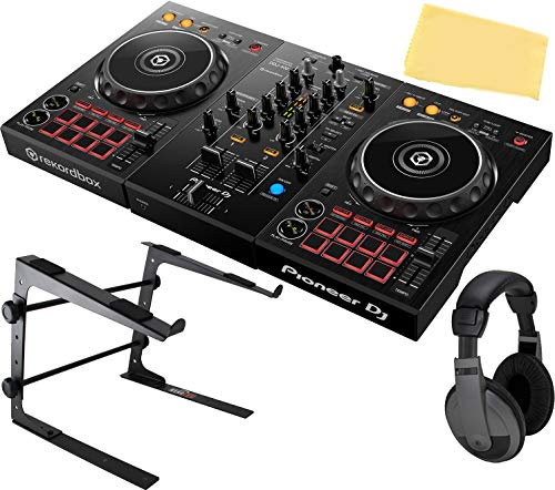Pioneer DDJ-400 2-Channel DJ Controller for Rekordbox DJ Bundle with Stand, Headphones, and Austin Bazaar Polishing Cloth