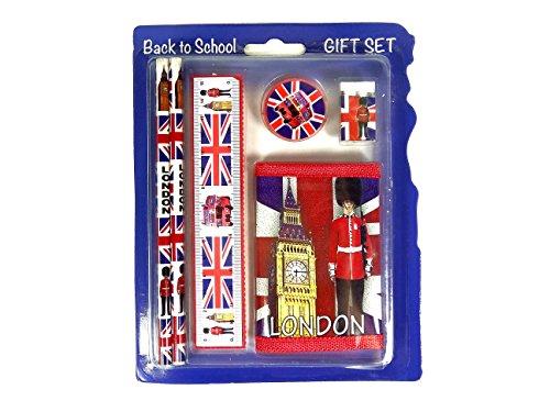 Terug naar school set- Union Jack Themed Set met portemonnee, liniaal, gum, 2 potloden en slijper